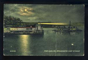 Portland, Maine/ME Postcard, Breakwater Light At Night