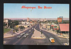 ALBUQUERQUE NEW MEXICO ROUTE 66 1960's CARS STREET SCENE VINTAGE POSTCARD NM
