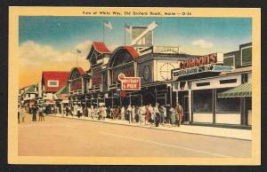 Street View White Way Street Old Orchard Beach Maine Unused c1930s