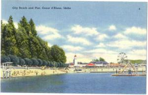 City Beach with Ferris Wheel, Coeur d'Alene, Idaho ID, Linen