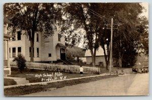 Hinsdale NH~High School Building~Picket Fence~Boy on Sidewalk~1920s Car~RPPC