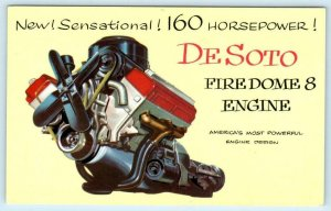 Car Advertising New DESOTO FIREDOME V-8 Sensational Engine 1952   Postcard