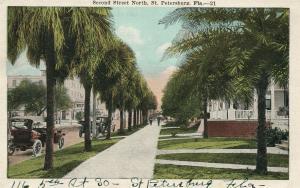 ST.PETERSBURG FL SECOND STREET NORTH 1921 ANTIQUE POSTCARD