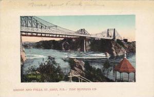 Bridge And Falls, Tide Running Up, St. John, New Brunswick, Canada, PU-1911