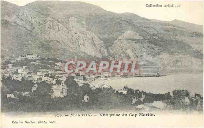 Old Postcard Menton View from Cap Martin Jack