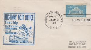 FIRST TRIP HIGHWAY POST OFFICE mail between Connellsville, Pa & Charleston, WV,