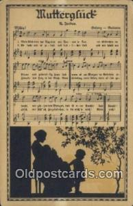 Muttergluck Silhouette Postcard Post Card Old Vintage Antique  Muttergluck