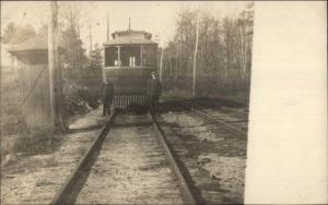 Lewiston Auburn Waterville Trolley c1910 Real Photo Postcard dcn