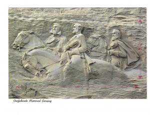 GA Atlanta Stone Mountain Confederate Memorial Jackson Davis Lee 4X6 Postcard