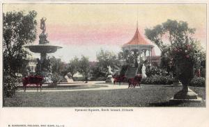 Rock Island Illinois~Spencer Square~Fountain-Pavilion-Benches-Statues~c1905 Pc
