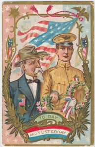 Today & Yesterday, Old & Young Soldiers walking together, U. S. Flag, 1900-10s