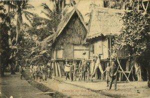 indonesia, SUMATRA, MUARA TEMBESI, Dutch KNIL Soldiers at the Kampong (1907)