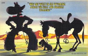Out West in Old Wyoming Cowboy Dog Horse Curt Teich Linen Postcard
