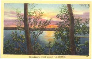 Scene Greetings from Napa, California, CA, Linen