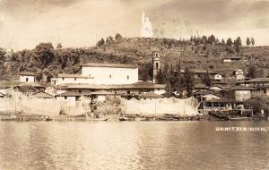 E27/ Janitzio Mexico Real Photo RPPC Postcard 1947 Shoreline Monument Homes