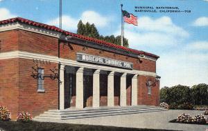 Municipal Swimming Pool, Marysville, California, Early Postcard, Unused