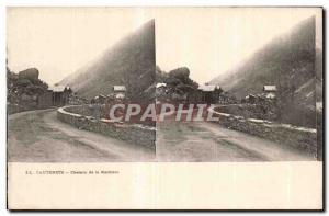 Stereoscopic Card - Cauterets - path Raillere - Old Postcard