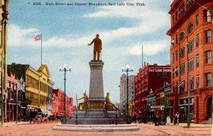 Salt Lake City, Utah - A view of Main Street & Pioneer Monument - c1908
