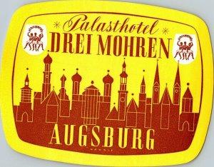 Germany Augsburg Palasthotel drei Mohren Vintage Luggage Label sk4850