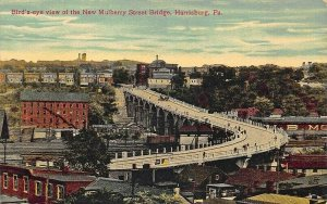 Harrisburg PA Birds-eye View New Mulberry Street Bridge Postcard