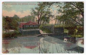 Portland, Me, Boat House and Bridge, Riverton Park