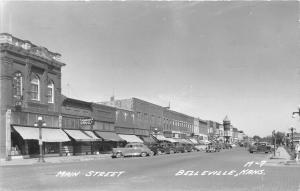 Belleville Kansas~Main Street~Rexall~Eller Co~Jenkinson Drugs~40s Cars~RPPC