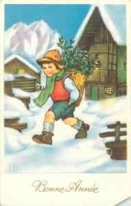 Postcard Holidays Belgium boy winter basket hat snow village house mountain