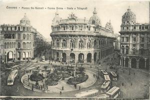 Genoa Genova Piazza De Ferrari Nuova Borsa Italia Italy Postcard