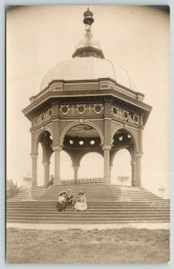 Wadsworth KS~St Louis MO (Folk @ Art Nouveau World's Fair Bandstand)~1910 RPPC