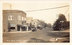 Southern Pines NC West Broad Street Storefronts Old Cars RPPC Postcard