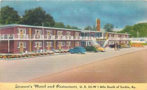 Corbin Kentucky~Stewarts Motel and Restaurant~Gas Pumps~1940s Linen Postcard