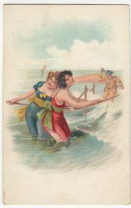 Embossed; Bathing Beauties & Peeping Tom Litho PPC, Unused, c 1905