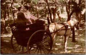Real Photo Postcard COLOR RPPC - VINTAGE - Wagon - ROMANTIC - FRANCE - FRENCH