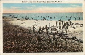 Ocean Bluffs MA Beach From Post Office c1920 Postcard