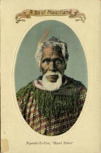 new zealand, Maori Priest and Chief Ngaroki-Te-Uru (1934) Embossed