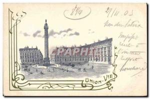 Postcard Old Union Life Insurance Plaec Vendome Paris