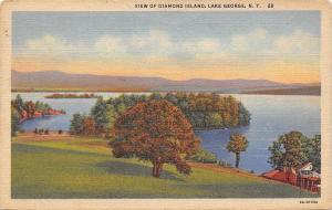 Lake George New York~View Of Dimond Island~Shoreline Cabin~1933 Linen Postcard