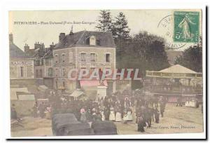 Pithiviers Old Postcard Place Duhamel (Fair Saint Georges) (manege kiosk) (tr...
