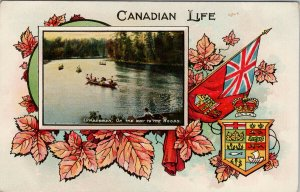 Canadian Life Lumbermen on Way To The Woods Patriotic Canada Maple Postcard G27