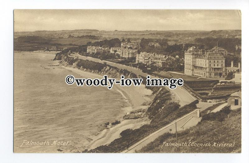 tq1385 - The Falmouth Hotel, and Seafront, (Cornish Riviera) - postcard