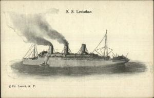 Steamship SS Leviathan Ed Levick c1910 Postcard