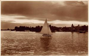 Eventide on Oulton Broad Boats Panorama Postcard
