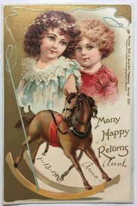 Many Happy Returns Childrens Birthday Dresden Gilt R Tuck Rocking Horse Boy Girl