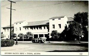 TUCSON, Arizona Postcard Southern Pacific Depot Street View / Woody Car c1950s