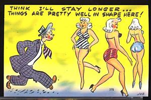 Vintage Humor I Think I'll Stay Longer... Sexy Ladies Bathing Suit