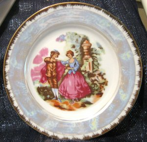 Gorgeous Decorative plate of a regency scene great colours approx 8 1/8 ins wide