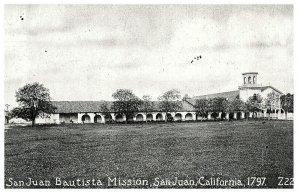 San Juan Bautista Mission in san juan, CA 1797 Postcard - Pacific Novelty Co