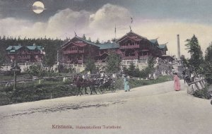 Holmenkollens Turisthotel Kristiania Norway By Moonlight Antique Postcard
