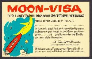 Outer Space Rocket Vacation Moon Visa Permit Comic Postcard c.1960