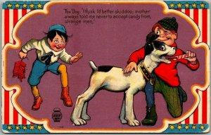 Vintage 1910s FOURTH OF JULY Embossed Postcard Boys / Dog / Firecrackers UNUSED